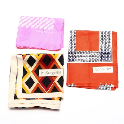 Givenchy and Yves Saint Laurent Patterned Silk Scarves