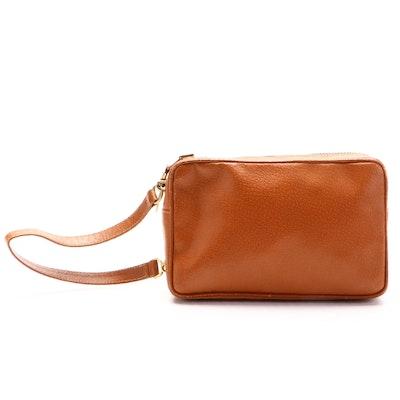 Gucci Wristlet Clutch in Tan Leather
