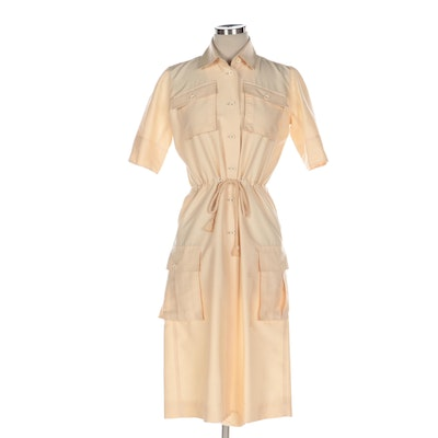 Courrèges Utilitarian Drawstring Dress in Ivory with Rope Cord, 1960s