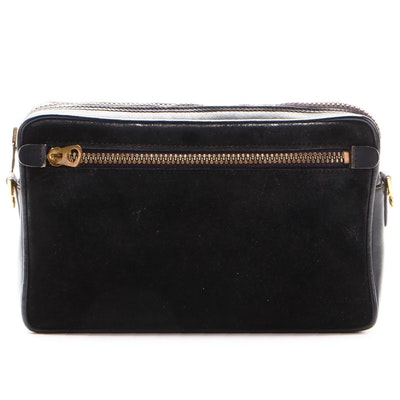 Gucci Shoulder Bag in Black Suede and Leather