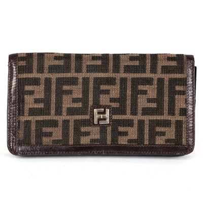 Fendi Flap Front Long Wallet in Zucca Canvas with Brown Leather Trim