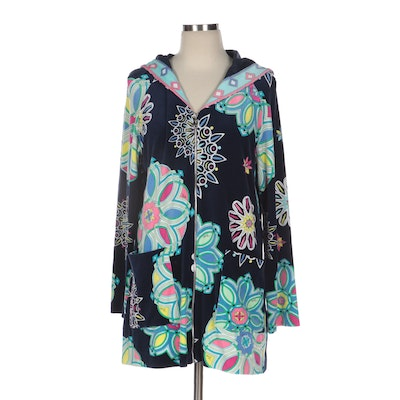 Emilio Pucci Zipper-Front Hooded Jacket in Abstract Print Terrycloth Fabric