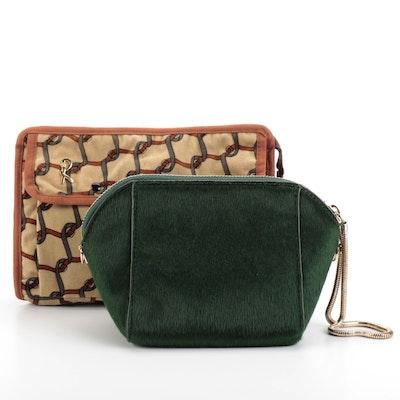 Roberta di Camerino Printed Accessory Pouch and Street Level Faux Fur Handbag