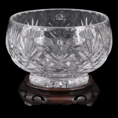 Cut Crystal Centerpiece Bowl on Wooden Stand