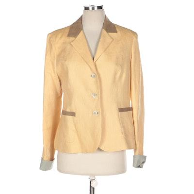 Olga Naum Pale Yellow Jacket with Contrasting Trim
