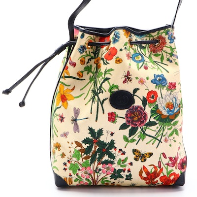 Gucci Bucket Bag in Flora Canvas and Navy Leather Trim