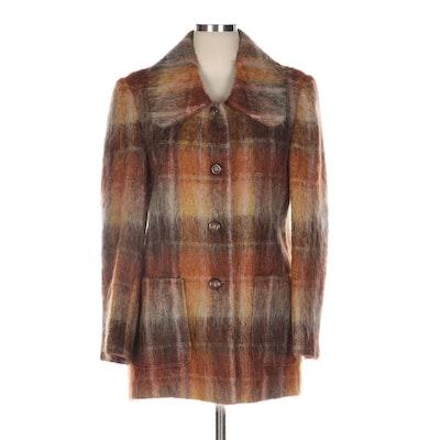 Plaid Mohair Button-Front Coat