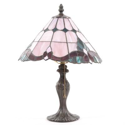 Dale Tiffany Art Nouveau Style Slag Glass Table Lamp, Late 20th Century