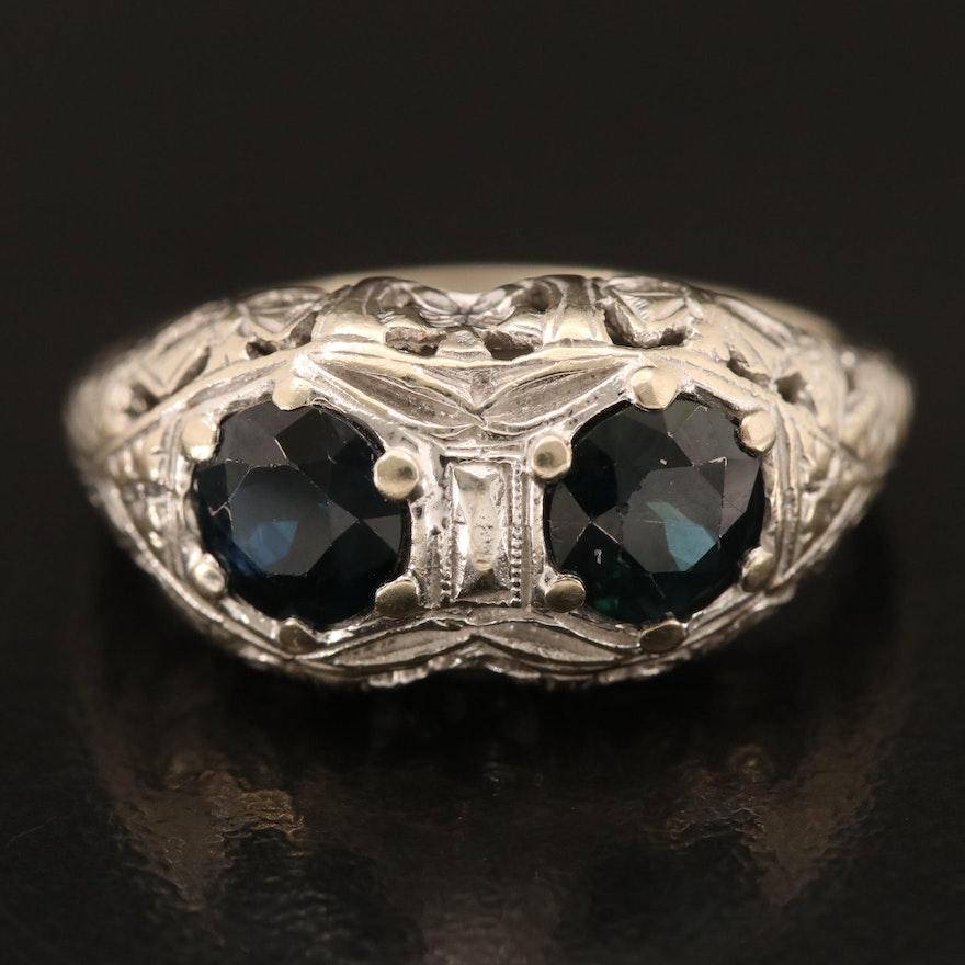 1930s 14K Sapphire Moi et Toi Ring