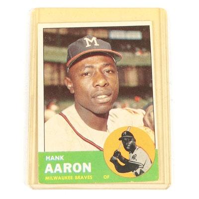 1963 Hank Aaron Topps #390 Milwaukee Braves Baseball Card