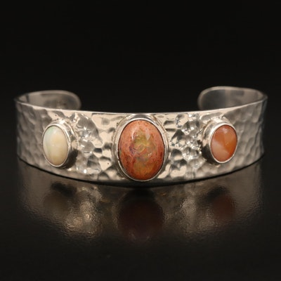 Sterling Opal Hammered Cuff