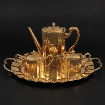 Mexican Gold Plated Sterling Silver Tea Service, Mid-20th Century