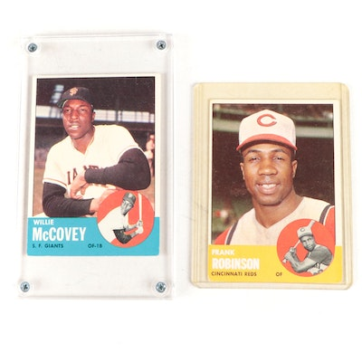 1963 Frank Robinson Topps #400 and Willie McCovey #490 Baseball Cards