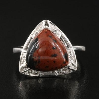 Sterling Mahogany Obsidian and White Topaz Triangular Ring