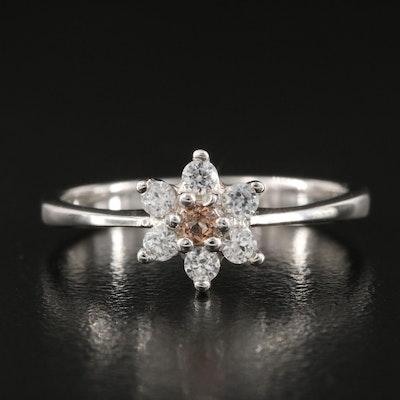 Sterling Alexandrite and White Zircon Flower Ring