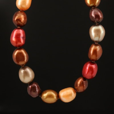 Multicolored Pearl Necklace with Sterling Silver Clasp