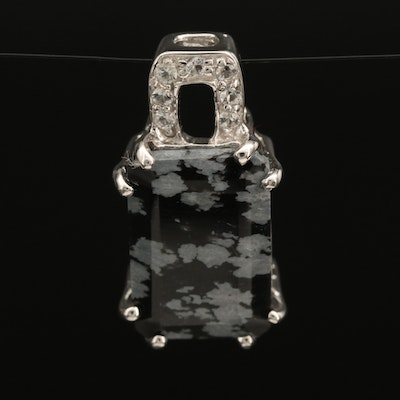 Sterling Topaz and Snowflake Obsidian Pendant