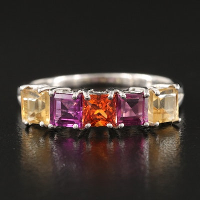 Sterling Five Stone Ring with Garnet, Peridot and Sapphire