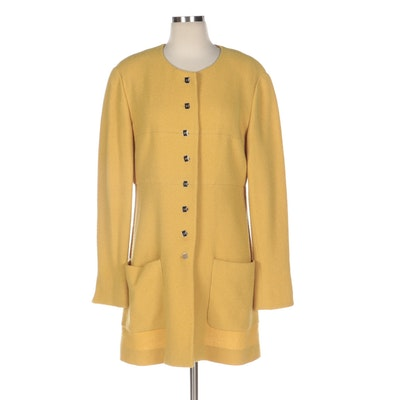 Karl Lagerfeld Bouclé Wool Button-Front Jacket with Patch Pockets