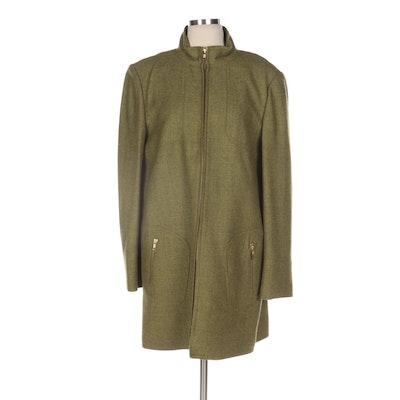 Carlisle Green Tweed Zipper-Front Coat