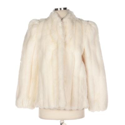Sasson Juniors Off-White Corded Faux Fur Coat