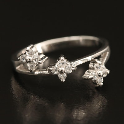 Sterling Triple Quatrefoil Zircon Ring