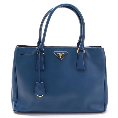 Prada Medium Lux Tote Handbag in Blue Saffiano Leather with Detachable Strap