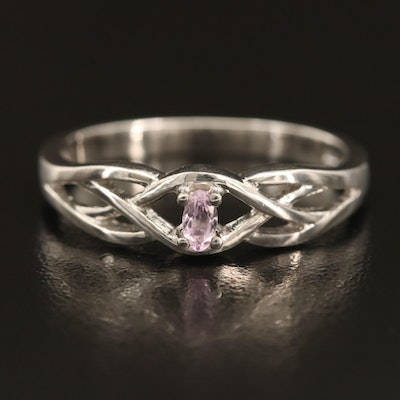Sterling Amethyst Ring with Woven Shoulders