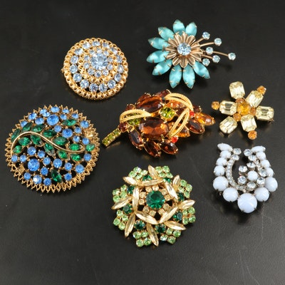 Vintage Rhinestone Brooches Featuring Weiss Co. and Austria