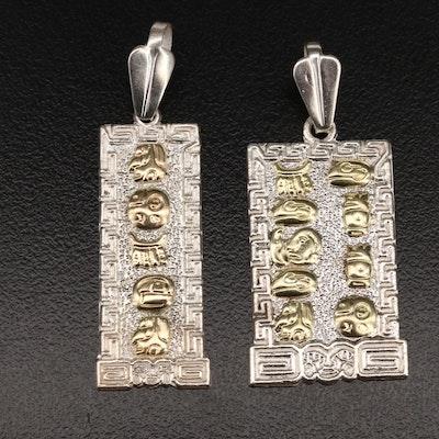 Oro Maya Sterling Hieroglyphic Pendants