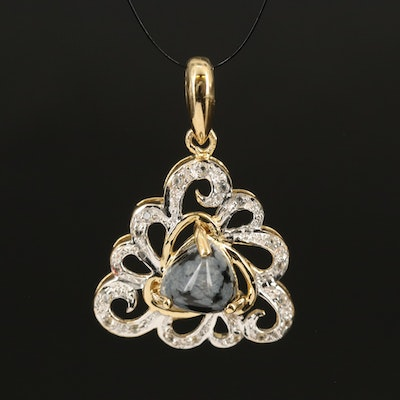 Sterling Snowflake Obsidian and Topaz Openwork Pendant