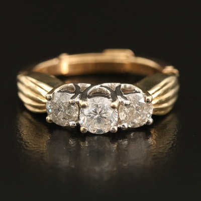 14K 0.96 CTW Diamond Three Stone Trellis Set Ring with Arthritic Shank