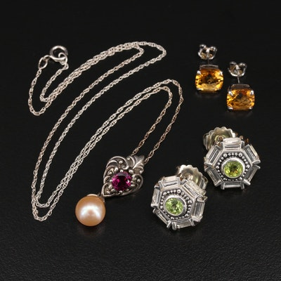 Sterling Jewelry Including Garnet, Peridot and Citrine