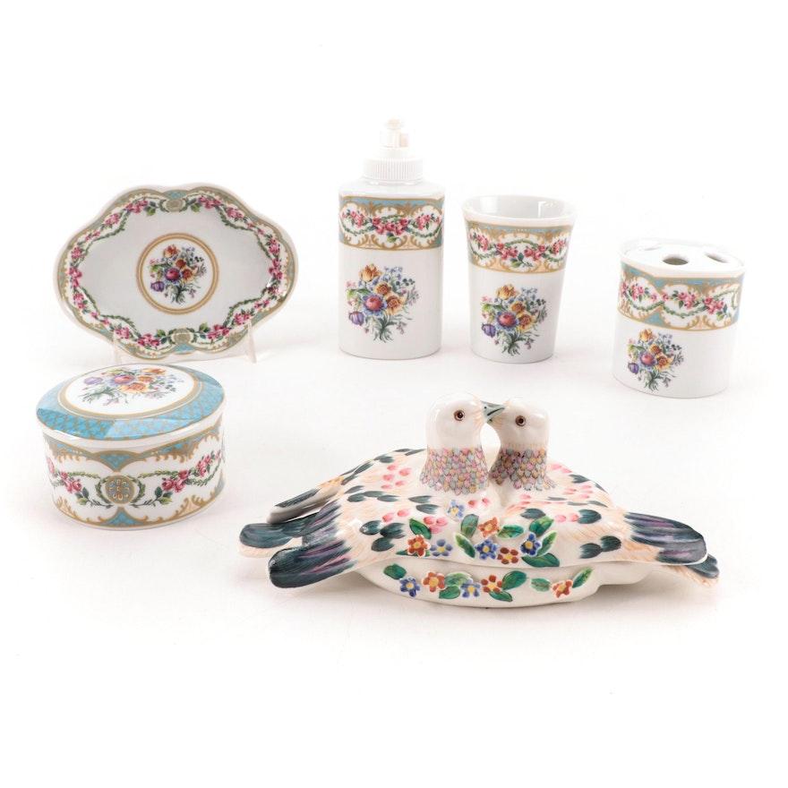 "Andrea By Sadek ""Le Beau Bain"" Porcelain Bathroom Set with Vanity Box"