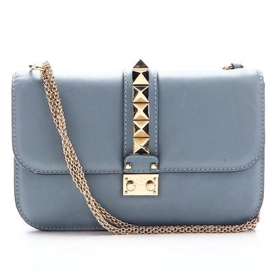 Valentino Glam Lock Medium Shoulder Bag in Light Blue Calfskin