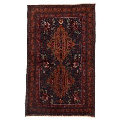 4'1 x 6'7 Hand-Knotted Persian Afshar Area Rug