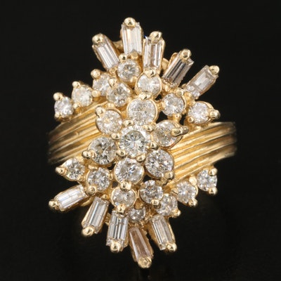 14K 1.98 CTW Diamond Cluster Ring with Fluted Shoulders