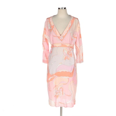 Emilio Pucci Abstract Print Cotton Weave V-Neckline Dress for Lord & Taylor