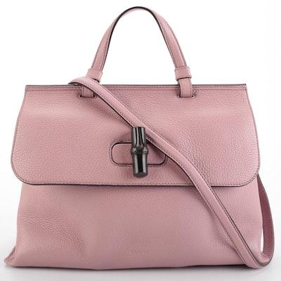 Gucci Bamboo Daily Pebble Grain Leather Two-Way Handbag