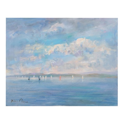 """Nino Pippa Oil Painting """"Normandy - Dieppe Sailboat Race,"""" 2014"""