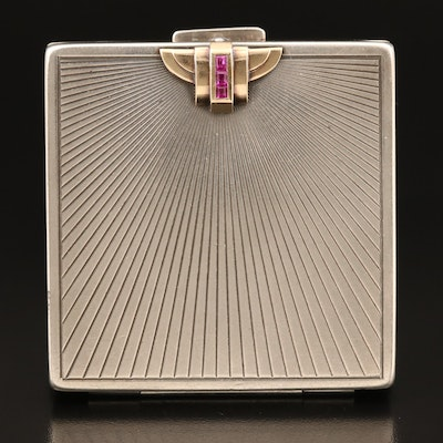 Retro Tiffany & Co. Sterling, 14K and Ruby Mirrored Compact