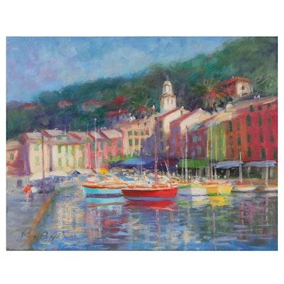 "Nino Pippa Harbor Scene Oil Painting ""Portofino,"" 2018"