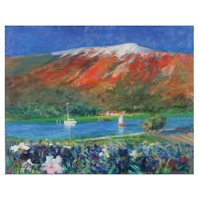 """Nino Pippa Oil Painting """"Provence - The Rhone by Arles With Lily Field,"""" 2016"""