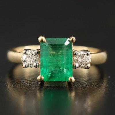 14K 1.48 CT Emerald and 0.22 CTW Diamond Ring