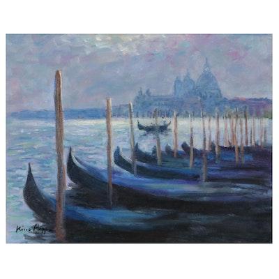 "Nino Pippa Oil Painting ""Venice  - La Salute,"" 2019"