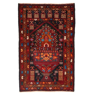 2'10 x 4'6 Hand-Knotted Afghan Baluch Accent Rug