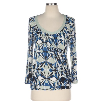 Emilio Pucci Graphic Print Jersey Knit Blouson Top