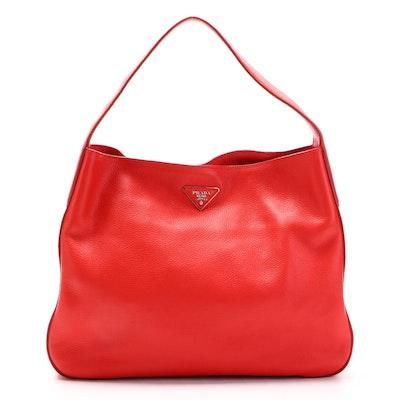 Prada Large Hobo in Red Vitello Daino Leather