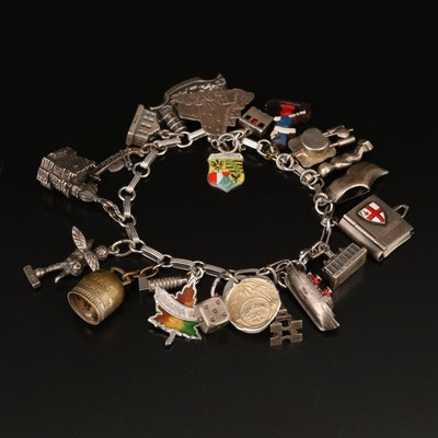 Sterling and 800 Silver Travel Charm Bracelet