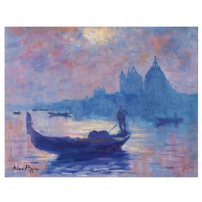 "Nino Pippa Oil Painting ""Venice - Gondolas on the Grand Canal,"" 2016"